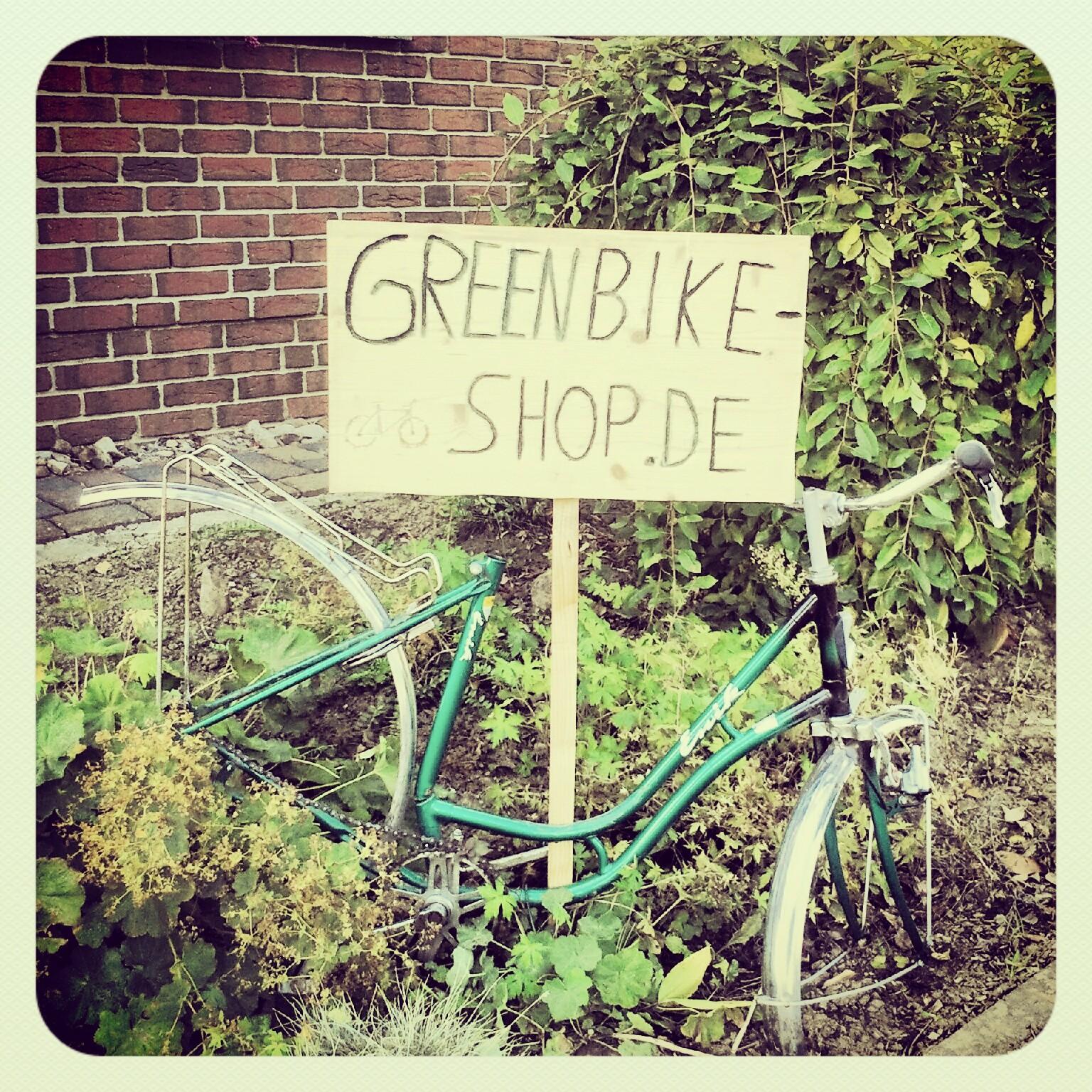 Greenbike-Shop / Das Eingangsschild bei uns vor derTür