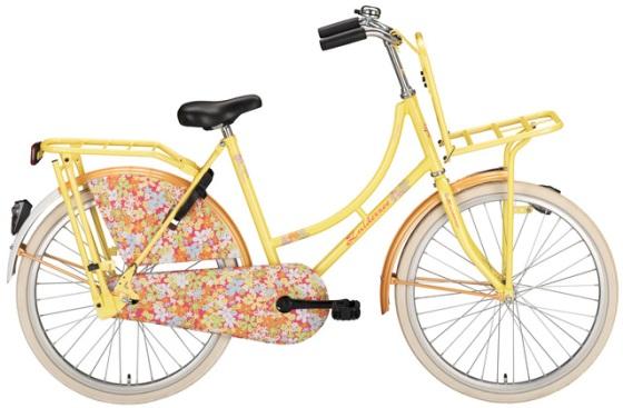 Süßes Hollandrad 24 Zoll Zuiderzee mit Gepäckträger vorne / gelb mit Blümchen