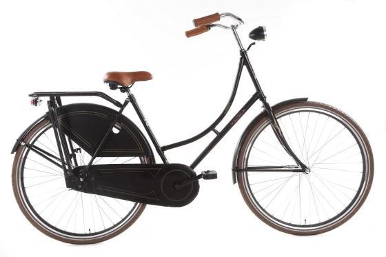 Hollandfahrrad Hollandrad 26 Zoll schwarz mit braunem Sattel